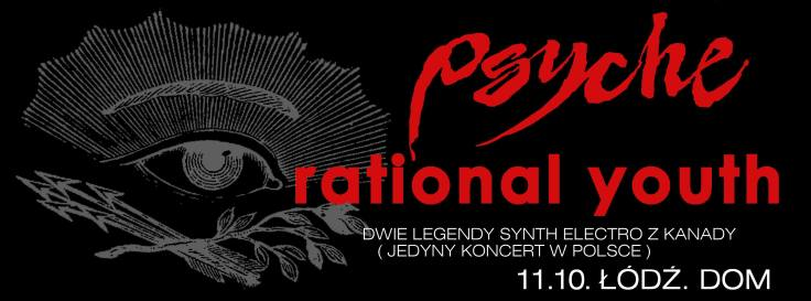 Psyche i Rational Youth - koncert w łódzkim klubie DOM; 11 października 2014 (plakat promocyjny)