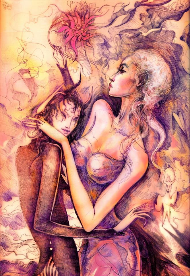 """""""Bogini i diabeł (wersja 2)"""" © Misior (2013)"""