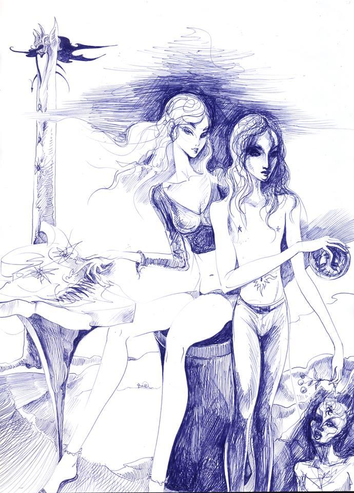 """""""Eumilia i Fexotill przy stoliku do diablaka"""" © Misior (2015)"""
