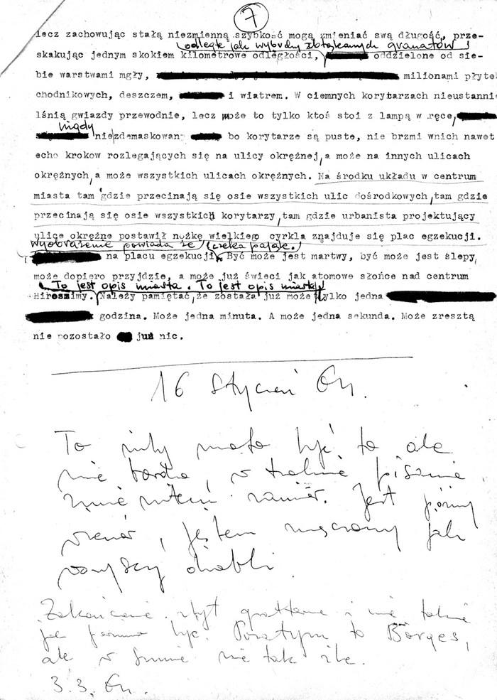 Zdzisław Beksiński - fragment maszynopisu opowiadania
