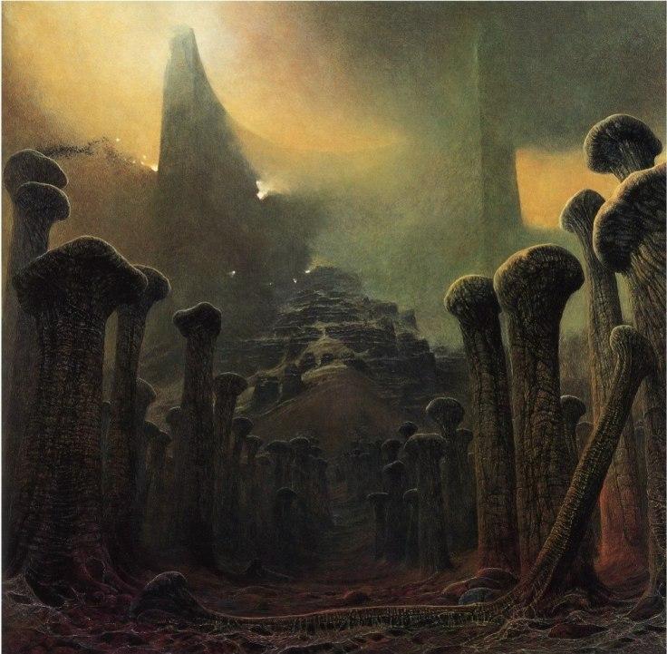 Kości jako forma architektoniczna na obrazie Zdzisława Beksińskiego z 1981 roku.