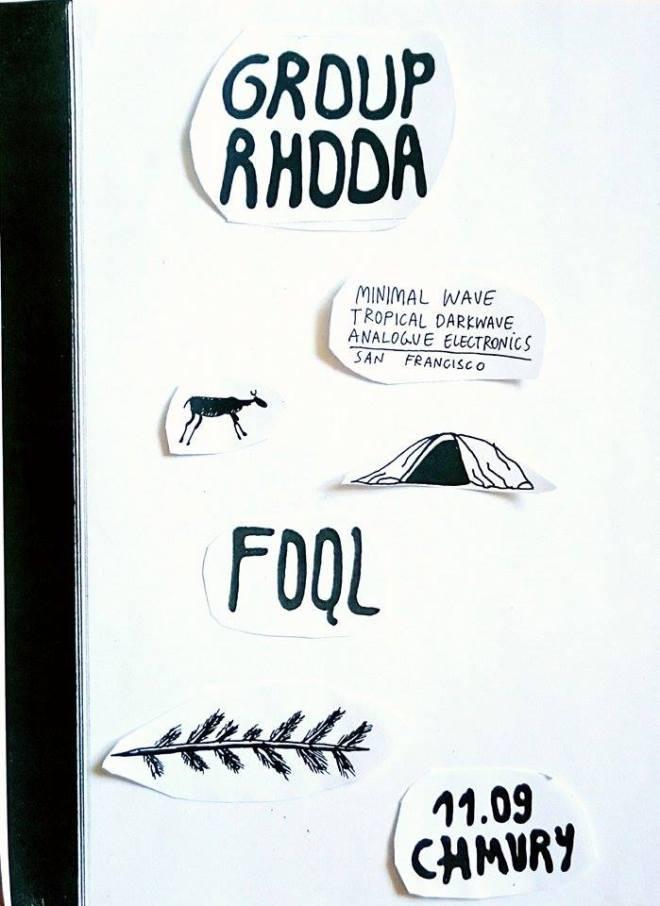 Group Rhoda i FOQL - koncert w klubie Chmury (plakat wydarzenia) / autor: uabbs.tumblr.com