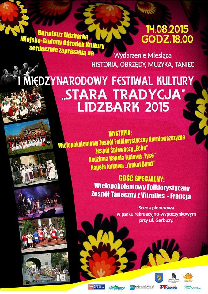 I Międzynarodowy Festiwal Kultury Stara Tradycja Lidzbark 2015 (plakat wydarzenia)